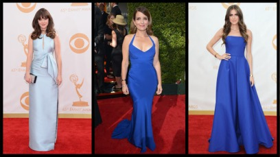 Zooey Deschanel, Tina Fey, and Allison Williams: All Rocking Blue, but who's doing it better at the Emmy's (which were hosted this past Sunday?)