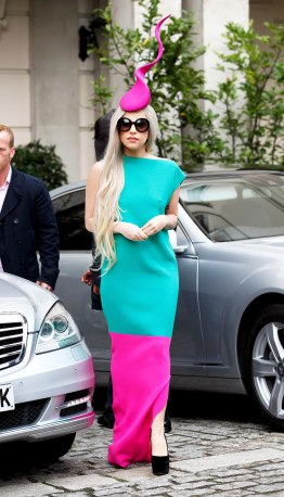 """FASHION ›CELEBRITY STYLE› LADY GAGA'S BEST FASHION MOMENTS Sponsored By 5 Share 680 [back]20 of 32[next] GETTY IMAGES She's a mother """"My next baby will be my new record."""" Gaga's dark lips and retro sunglasses on December 20, 2011 add edge to the girly hair bow style she made popular. GETTY IMAGES She's a work of art """"I am a walking piece of art every day, with my dreams and my ambitions forward at all times in an effort to inspire my fans to lead their life in that way."""" Gaga pairs a bright Roksanda Ilincic teal-and-fuchsia dress with a Dr. Seuss-like head piece on November 16, 2011."""