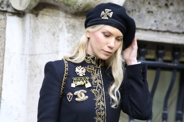 Vintage Chanel brooches seen at Milan Fashion Week Fall/Winter 2014-2015,