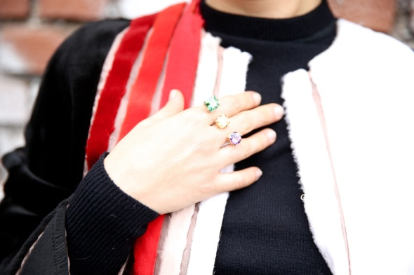 Delfina Delettrez Magic Triangle ring, seen at Milan Fashion Week Fall/Winter 2014-2015