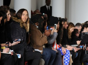 Jared Leto front row at Jeremy Scott.